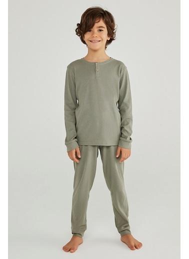 Penti Erkek Çocuk Gri Rib 2'li Pijama Takım PN87HDWS20SK Renkli
